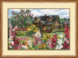 Cottage In Flower Garden