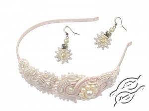 Soutache headband and earrings Sunrise of Pearls