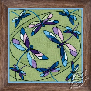 Cushion/Panel Stained Glass Window. Dragonflies