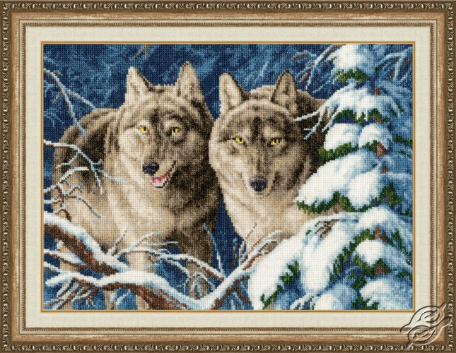 "Kustom Krafts 14/"" x 17/"" Winter Wolves Cross Stitch Kit"